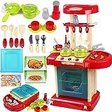 Xyanzi Kinderspielzeug Kinder Küche Spielzeug Set Mädchen Jungen Simulation Mini Küchengeschirr Dress Up Spiel Trolley Kochen Spielzeug (Farbe : Red)