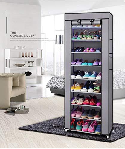 10 capas de acero inoxidable zapatero hogar organizador para zapatos estante gabinete a prueba de polvo estantes de hierro para zapatos estante de almacenamiento estante-gris, Estados Unidos