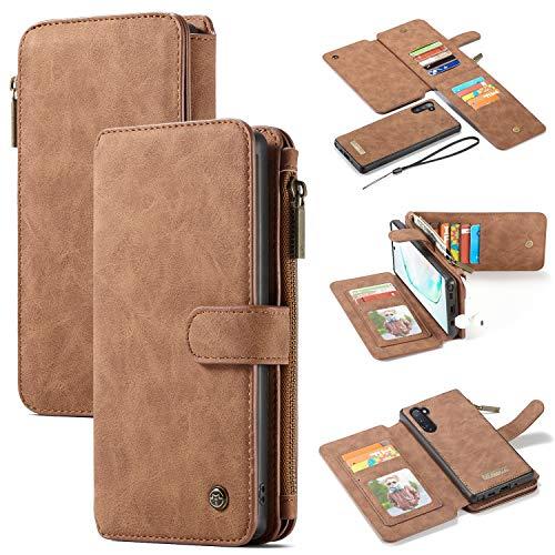 JISHIYU 2-in-1 Zipper Wallet Phone Case, PU de Haute qualité en Cuir Twofold Boucle Flap Housse de Protection Anti-Choc avec Support de Carte de Visite for Samsung Note 10 (Color : Brown)