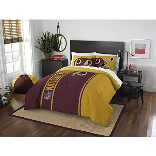 3 Piece Full NFL Washington D.C. Redskins Football Team Comforter, Sports Fan Bedding, Football Themed, Featuring Team Logo, Dark Maroon Mustard Yellow, Merchandise, Team Spirit