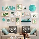 Wall-mounted Home Mall- Marco de Fotos Modernos con Reloj | Marcos de Fotos Combinados de Pared | para la Sala de Estar del Corredor | Conjunto de 12 (Color : Color#1)