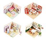 Black Temptation Juego de 4 encantadores pequeños Muebles Modelo de Montaje Puzzles Juguetes 3 D Puzzles