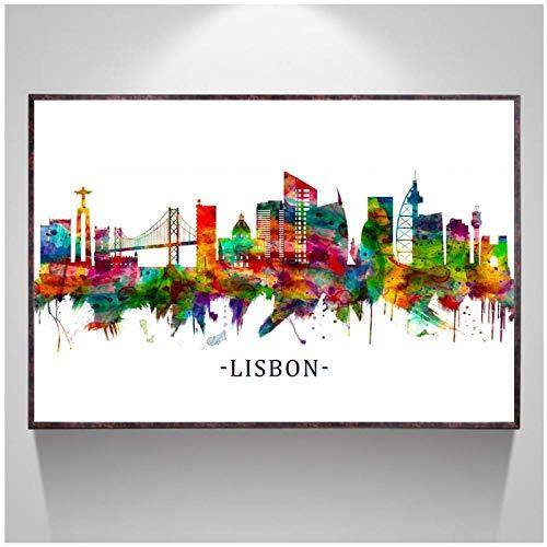 MULMF Nebraska Lissabon Portugal London Los Angeles Horizont Aquarell Poster Kunst Leinwand Malerei Raumdekor- 40X60Cm Kein Rahmen