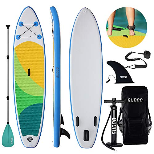 Triclicks Tabla Hinchable Paddle Surf/Sup Paddel Surf con Bomba, Mochila, Aleta Central Desprendible, Kit de Reparación, Remo Ajustable, La Cinta para Atar al Pie(300 * 75 * 15cm-Grosor)
