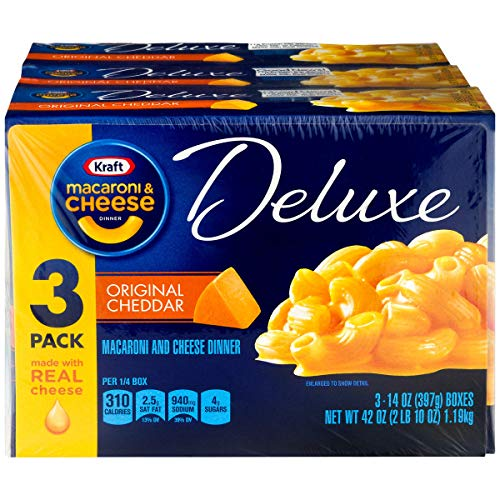Kraft Deluxe Cheddar Macaroni and Cheese Meal (14 oz Boxes, Pack of 3), Set of 4