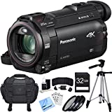 Panasonic HC-WXF991K 4K Ultra HD Camcorder with Wi-Fi, Multi Scene Twin Camera Black Bundle with 32GB SDHC Memory Card, Filter Kit 3 Pieces, Camera Bag and 60 Inch Camera Tripod