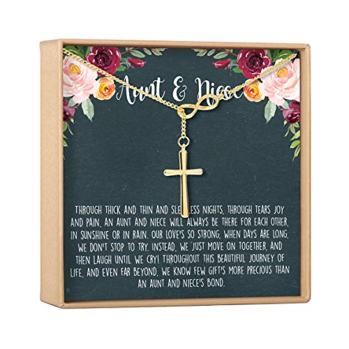 Dear Ava Aunt-Niece Necklace: Aunt-Niece Gift, Aunt-Niece Jewelry, Aunt-Niece Quotes (Infinity Cross Gold)