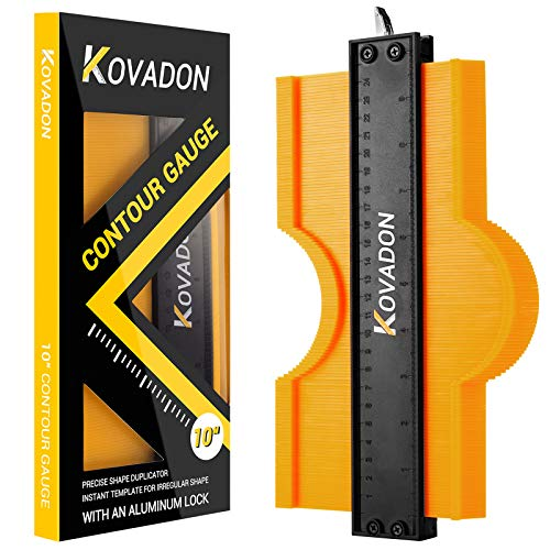 Contour Gauge with Lock, Kovadon 10 Inch Shape Contour Gauge Profile Tools, Woodworking Welding DIY Handyman Tool, Precisely Copy Irregular Shape Duplicator for Perfect Fit and Easy Cutting (10 inch)