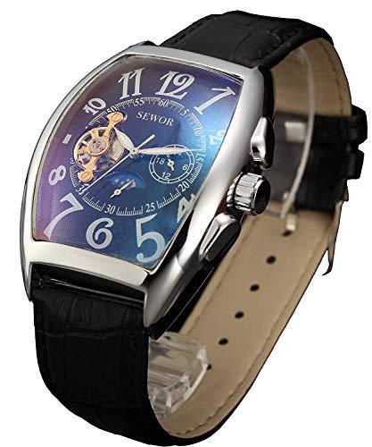 SEWOR de Lujo para Hombre Tourbillon Fase de la Luna automático mecánico Banda de Cuero Reloj de Pulsera Cristal Azul (Negro y Plata)