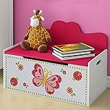 Truhenbank Kinder - Höhe 47,5 cm, Weiss, Rosa, Groß, Stauraum für das Spielzeug oder Anderes - Sitzbank Kinderzimmer, Kindermöbel, Spielzeugtruhe, Spielzeugkiste, Spielzeugbox