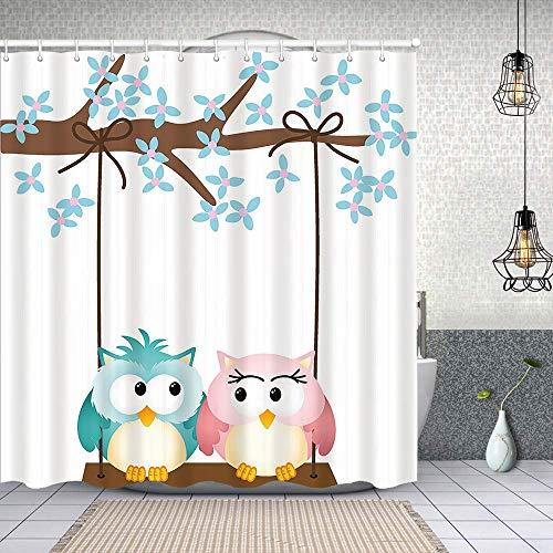 Cortina de Baño con 12 Ganchos,Búhos Enamorados en un Columpio Rama de árbol floreciente Romance de Primavera,Cortina Ducha Tela Resistente al Agua para baño,bañera 150X180cm