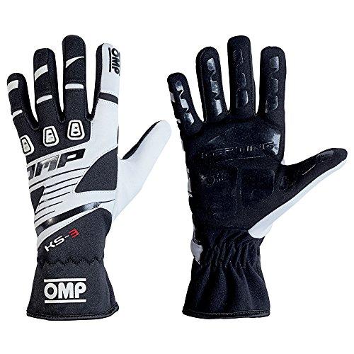 OMP KS-3Kart Handschuhe mit kk02743e Karting Griff in Erwachsene & Kinder-Größen, schwarz/weiß, 6 (Child 10-12 Years)