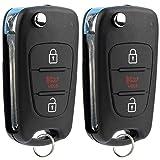 KeylessOption Keyless Entry Car Remote Flip Ignition Key Fob for 2010-2013 Kia Soul 2012-2014 Kia Rio (Pack of 2)