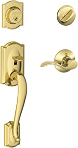 Camelot Single Cylinder Handleset and Left Hand Accent Lever, Bright Brass (F60 CAM 505 ACC 605 LH)
