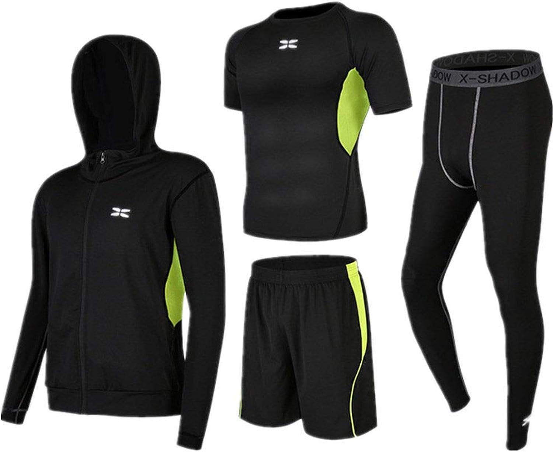 ChenYongPing Herren-Fitness-Bekleidungs-Set Thermo-Fitness-Bekleidung für Herren 4-in-1-Set mit Outwear, Kompressionshose, Kurzarm-T-Shirt, Shorts Sport und Sport Outdoor-Sportbekleidung