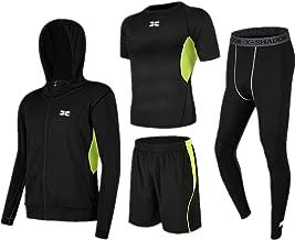 Trainingskleidung für Herren Kurzarm-T-Shirt Shorts Herren Thermal Fitness Bekleidung Set 4 in 1 Set mit Outwear Kompressionshose für Radfahren Laufen Gym Fitness ( Color : Black green , Size : XXXL )