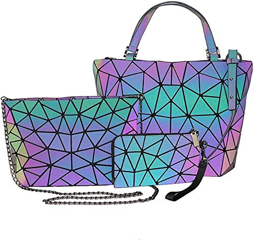 ZHUYU Bolsa de Asas geométrica, 3 unids/Set PU Bolso de Hombro Luminoso PU Crossbody Bolsa Bolsa de Embrague para Las Mujeres Conjunto de Bolso Reflectante holográfico, Bolsa de Cintura, Billetera