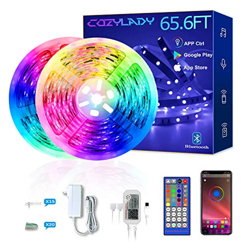 Cozylady LED Strip Lights 65.6Ft Controlled by APP, Remote
