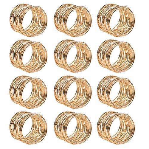 FOROREH 12pcs Serviettenringe Gold Metallmaschen Serviettenringe Set 4.2 * 3.6cm Serviettenhalter Napkin Ring für die Dekoration Hochzeit für Tisch (12 stück)