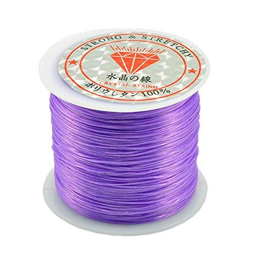 Bead String Rubber Stretchy String Elastic String 0.5mm Crystal String DIY Jewelry Making Cord Bracelets Beading Thread 50m/Roll for Children Adult Women Men Girls - Light Purple