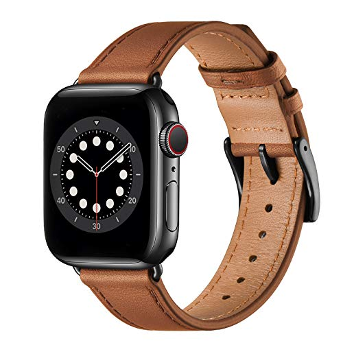 Midnifly Strap Compatible with Apple Watch Straps 40mm 38mm 44mm 42mm, Genuine Leather Business Replacement Band Women Men for iWatch SE & Series 6/5/4/3/2/1(38mm 40mm,Brown&Black)