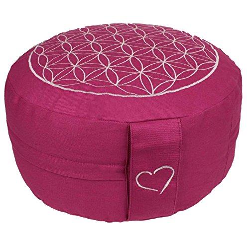Maylow Yoga mit Herz®, meditatie/yoga kussen met bloem van het leven borduren, 33 x 15 cm (verhoogde zitpositie voor beginners en tussenpersonen), gevuld met spelt kaf, deksel en tikken 100% katoen (roze/wit)