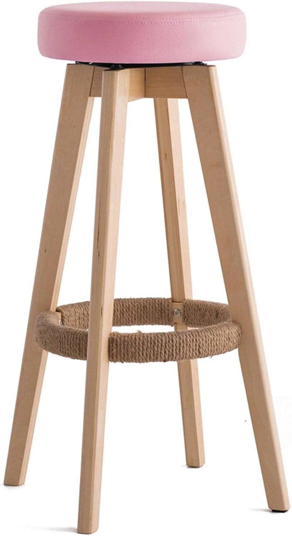 Ghjkl Bar Stool bar Stool high Stool Home Solid Wood bar Stool redating European Chair -by TIANTA (color   Pink)