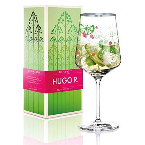RITZENHOFF Hugo R. Hugo-Glas, Aperitif-Glas von Virginia Romo, aus Kristallglas, 600 ml, mit edlen Platinanteilen