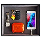 SUKKMORI Valet Tray Desk Organizer - Leather Nightstand Organizer for Men and Women - Dresser Tray - Catchall Tray for Key Jewelry Accessories - Vanity Tray Box - Bedside Table Charging Station