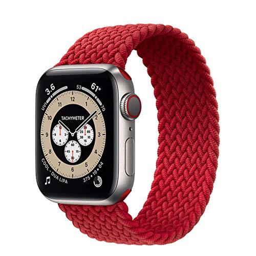 Cinturino intrecciato per cinturino Apple Watch 44mm 40mm 38mm 42mm Cinturino elastico in nylon per cinturino IWatch Series 3 4 5 Se 6,Red,42mm or 44mm