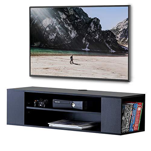 FITUEYES TV Shchrank In Schwarz Fernsehtisch Holz für die meisten 32-55 Zoll Fernsehen Lowboard Hängend Modernes mit 4 Offene Fächer