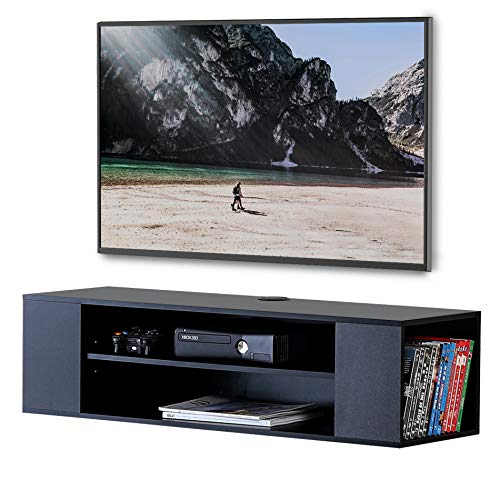 FITUEYES Mobile TV, Mobile per Audio Video, a muro, in Legno, Mensola per TV e Video, Mobile TV a parete, 100x30x26 cm DS210002WB