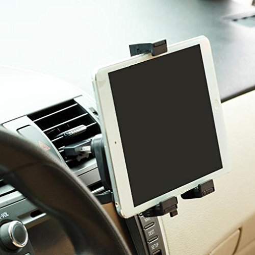 Car Mount Air Vent Tablet Holder Rotating Cradle Dock Stand Black for T-Mobile Alcatel OneTouch Pop 7 - T-Mobile iPad Air - T-Mobile IPad Air 2 - T-Mobile iPad Mini 2