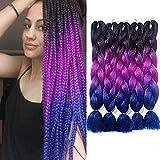 6 packs/Lot Braiding Hair Ombre Kanekalon Jumbo Braids Synthetic purple Braiding Hair Extension for Twist Braiding Hair (Black-Purple-Blue, 24 Inch)