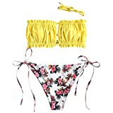ZAFUL Damen Floral Hollow Out Lace Up Bikini Set Swimwear Gelb L