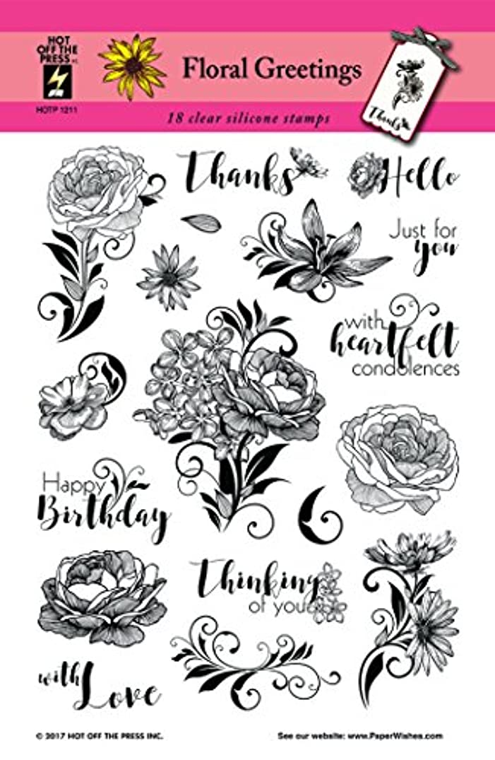"""Floral Greetings Clear Silicone Stamp Set by Hot Off The Press 
