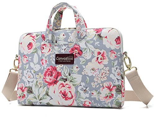 Canvaslove Big Rose Waterproof 13 inch Laptop Shoulder Messenger Case Sleeve Bag For 11 inch 12 inch 13.3 inch Laptop,Chromebook,Ultrabook Carrying Computer Notebook Bag