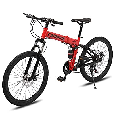 """PEXMOR 24"""" Folding Mountain Bike, 21 Speed Mountain Bicycle Foldable with High Carbon Steel Frame & Double Disc Brake, Front Suspension Anti-Skid Shock-Absorbing Front Fork, Outdoor Adult Bike, Red"""