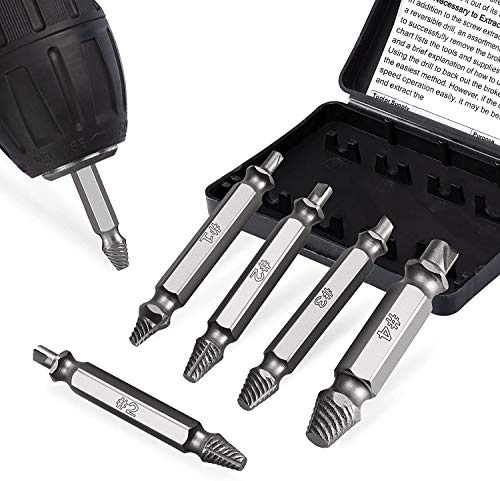 6PC double-head screw extractor kit, double-head screwdriver screw remover, hardness of 62-65 HRC, separate polished and magnetic extension drill holder, for 2-12mm damaged screws or bolts fengzhehua