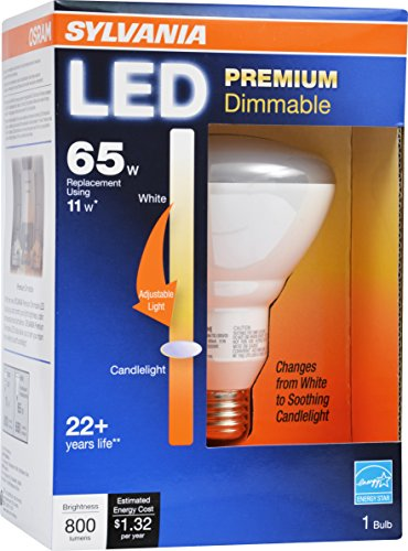 SYLVANIA ULTRA SE 65W BR30 LED Light Bulb, Dimmable - 11W - 25,000 hour life, Energy Star - Changes from Bright White to Candlelight as you Dim the Bulb (1900-3000K)