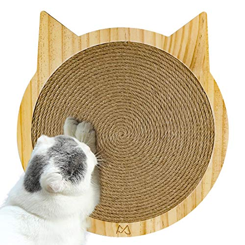 Companet Cat Scratching Pad with Suction Cups Space-Saving 100% Natural Durable Sisal Board Scratcher Scratch Deterrent Accessories for Cat/Kitty Grinding Claws & Protecting Furniture Carpets and Sofa