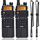 2 Pack BaoFeng UV-5R High Power Tri-Power Portable Two-Way Radio 3800mAh Battery & ABBREE Tactical Antenna (2pcs 5R8W+42.5')