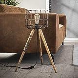 SalesFever – Lámpara de pie con 1 foco con cesta de metal y trípode de madera, lámpara industrial abierta con estructura de 3 patas, 44 x 68 cm, clase energética A++ hasta E