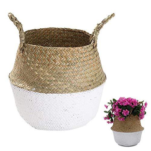N / A Handgefertigtes Rattan Seegras Tot Belly Korb, Pflanztöpfe Abdeckung Indoor Dekorative, auch für Lagerung, Waschen, Picknick und Gartenblumen Vase