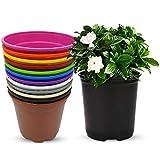 MURGIPLAST Macetas de plástico para Plantas y Flores, maceteros Decorativos de jardín, contenedores de Cultivo de Colores, 17 cm, 15 Unidades
