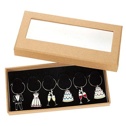 Pendagli per calici di vino, 6 pezzi decorativi per bicchieri di vino, per feste di addio al nubilato, compleanni, raduni, 3,2 cm