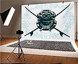 Surf - Telón de fondo de vinilo para fotógrafos, 30 x 30 cm, con traje de buceo y elementos Myst bajo el agua, diseño recreativo subacuático, fondo para decoración del hogar, decoración al aire libre