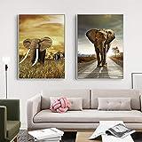 HSFFBHFBH Animales impresión Elefante Pared Arte Cartel Safari guardería Lienzo Pintura imágenes habitación de niños Moderna Simplicidad decoración 40x60cmx2 Marco Interior