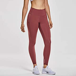 LPKH Yoga Pants Womens Athletic Pants Workout Tights,with Pockets,Tummy Control Leggings Fitness Yoga Pants (Color : Merlot red, Size : XL)