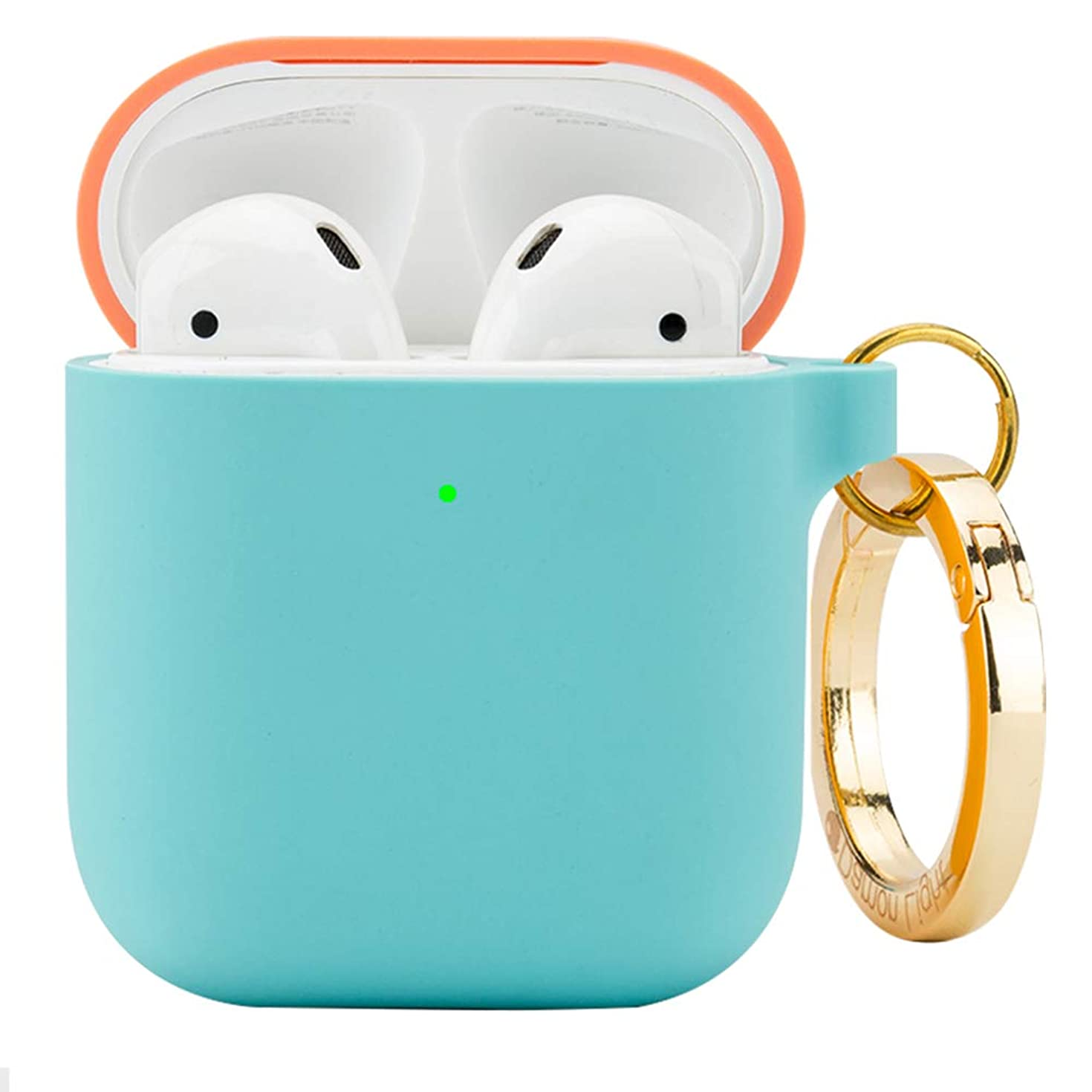 DamonLight Premium Silicone Airpods Case with Carabiner [Front LED Visible][with no Hinge] Full Protective Cover Skin Compatible with Apple Airpods 1&2 (Pink+Ice Blue)